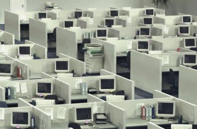 All the same type of computers in cubicles in an office