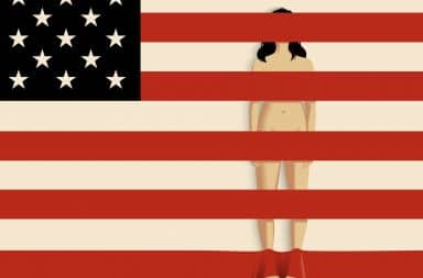 American flag covering naked woman