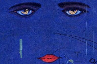 Great Gatsby book cover with a woman crying in the sky