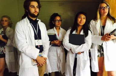 Medical students doing clinical rounds