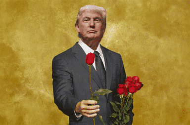 Donald Trump holds a rose for The Bachelor TV show