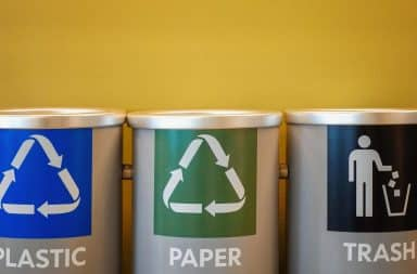Trash, paper, and plastic can receptacles