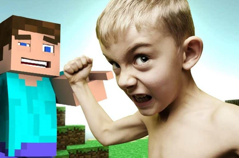 Kid yelling while playing Minecraft