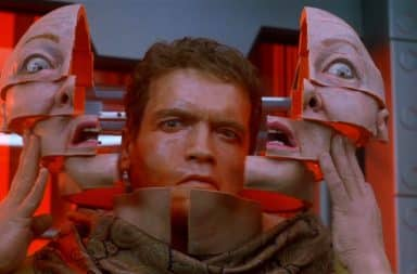Total Recall Arnold removes his robot face