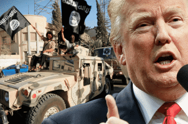President Trump with ISIS Humvee