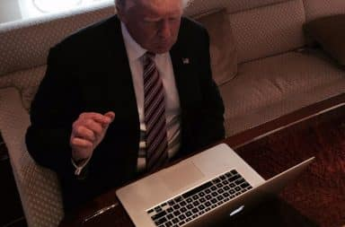 Donald Trump typing