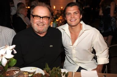 Ray Nicholson and Jack Nicholson father son pose at restaurant