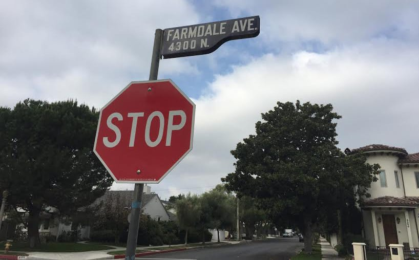 Farmdale Ave stop sign