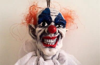 Clown head hanging Halloween decoration