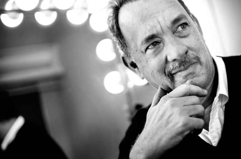 Tom Hanks poses in black and white