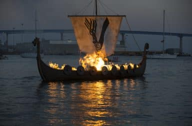 Boat on fire for a Viking funeral pyre
