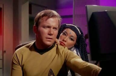 Star Trek's Captain Kirk with a hot woman