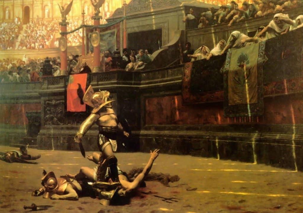 Roman Gladiator killing in the Colosseum