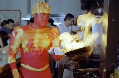 Human Torch costume on fire