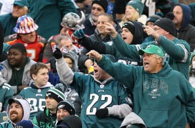 Angry Philadelphia Eagles fans in the stands of the stadium
