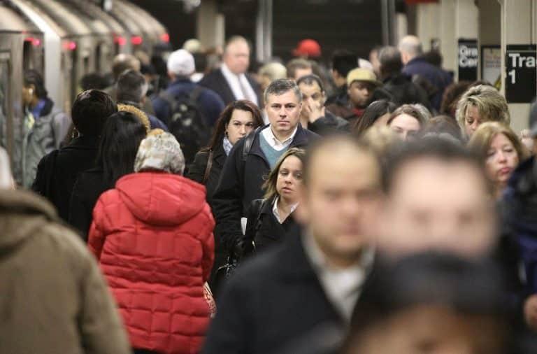 Man staring on the subway
