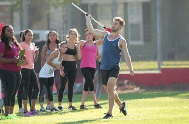 Man throws a javelin on The Bachelor
