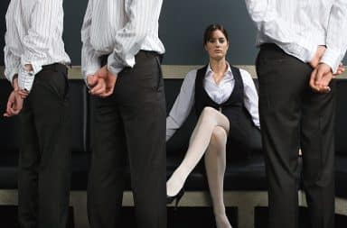 Woman and male employees at the office