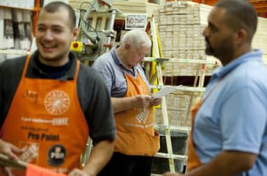 Home Depot employees working in the store