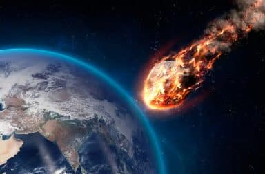 Asteroid fireball hurtling toward Earth's atmosphere for impact