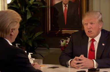 Donald Trump interview in front of a mirror