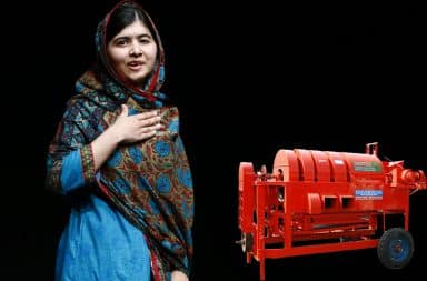 Malala Yousafzai and a grain thresher