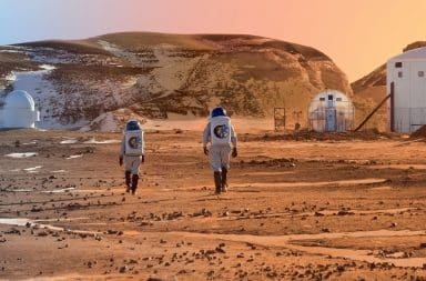 Couple dating on Mars surface