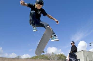 Middle school skateboarder