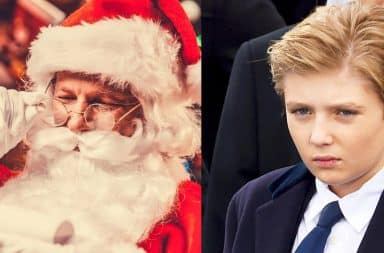 Barron Trump in a suit and Santa Claus reading a letter