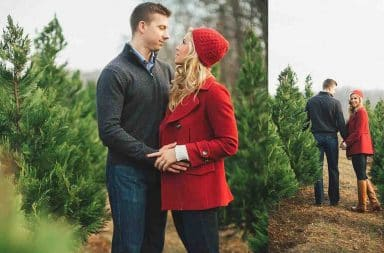 Christmas tree engagement photos