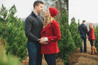 Christmas tree engagement photos