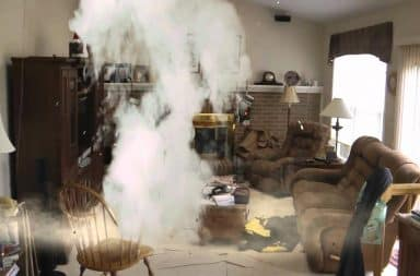 Explosion in living room