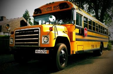 Ominous high school bus for a field trip