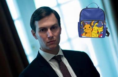 Jared Kushner deep in thought over his Pokemon backpack