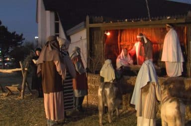 Local nativity scene at a church outside