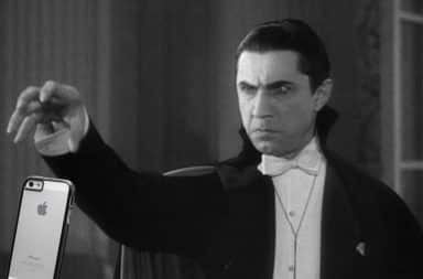 Dracula dropping an iPhone from his hand