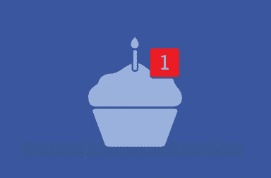 Facebook Happy Birthday cupcake with red notification flag on top
