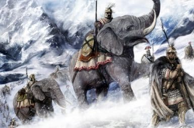 Hannibal crossing the Alps with his army and elephants