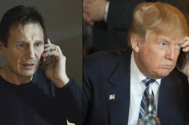 Liam Neeson and Donald Trump on the phone from the movie Taken