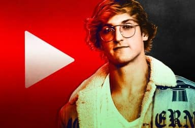 Logan Paul with YouTube logo
