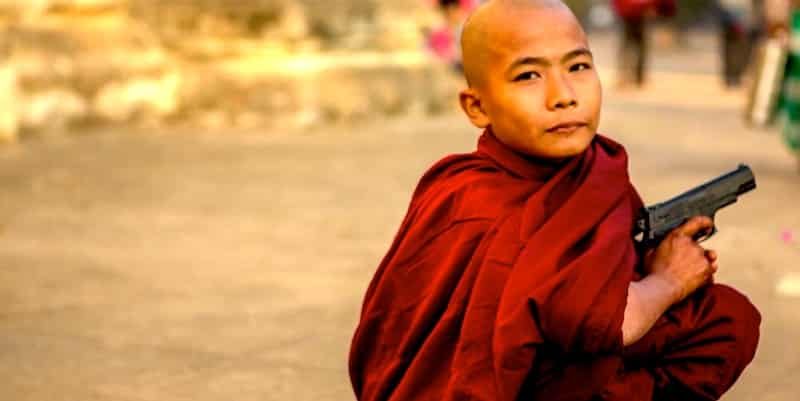 Buddhist monk with a gun
