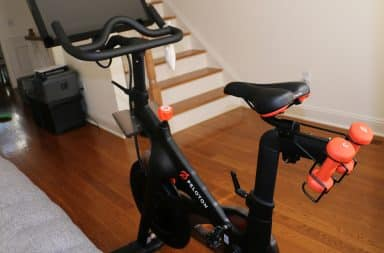 Peloton exercise bicycle in bedroom
