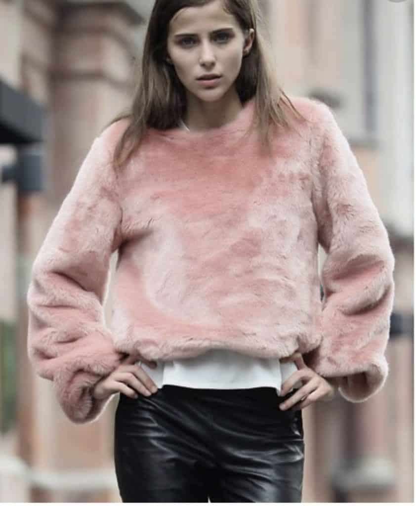 Pink rabbit fur sweater