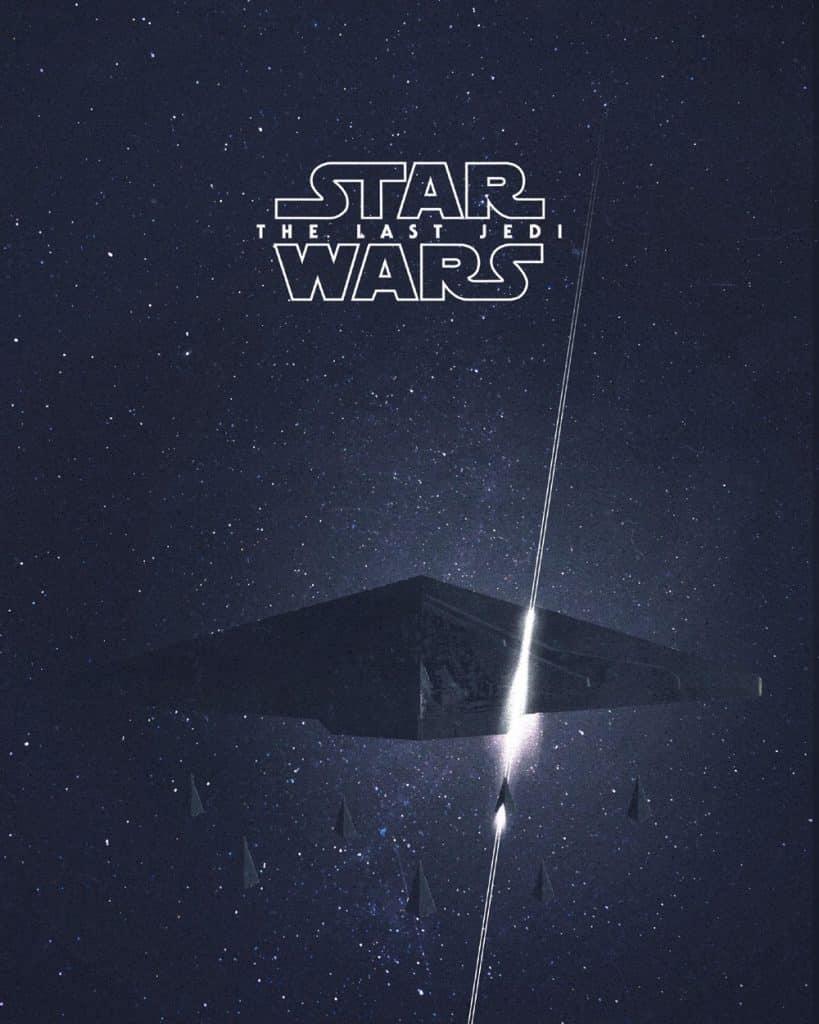 Snoke's ship cut in half movie poster Star Wars