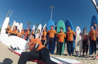 Surf school class on the beach