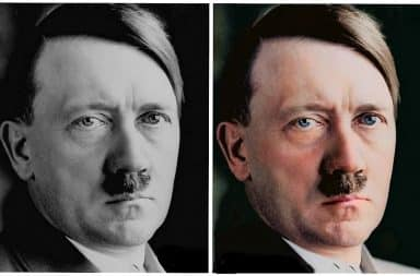 Hitler in black and white, then color