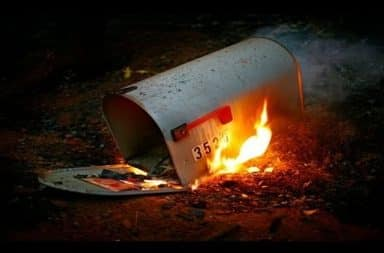 Mailbox on fire
