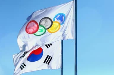 South Korea Olympics flags with condoms