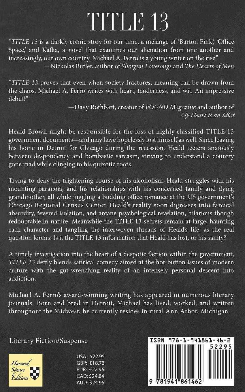 TITLE 13 by Michael Ferro (book back cover)