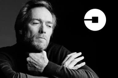 Clint Eastwood with an Uber logo